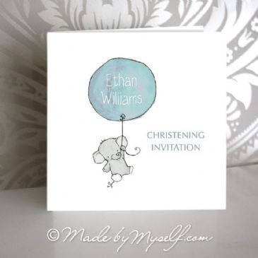 Balloon Christening Invitation - Boy